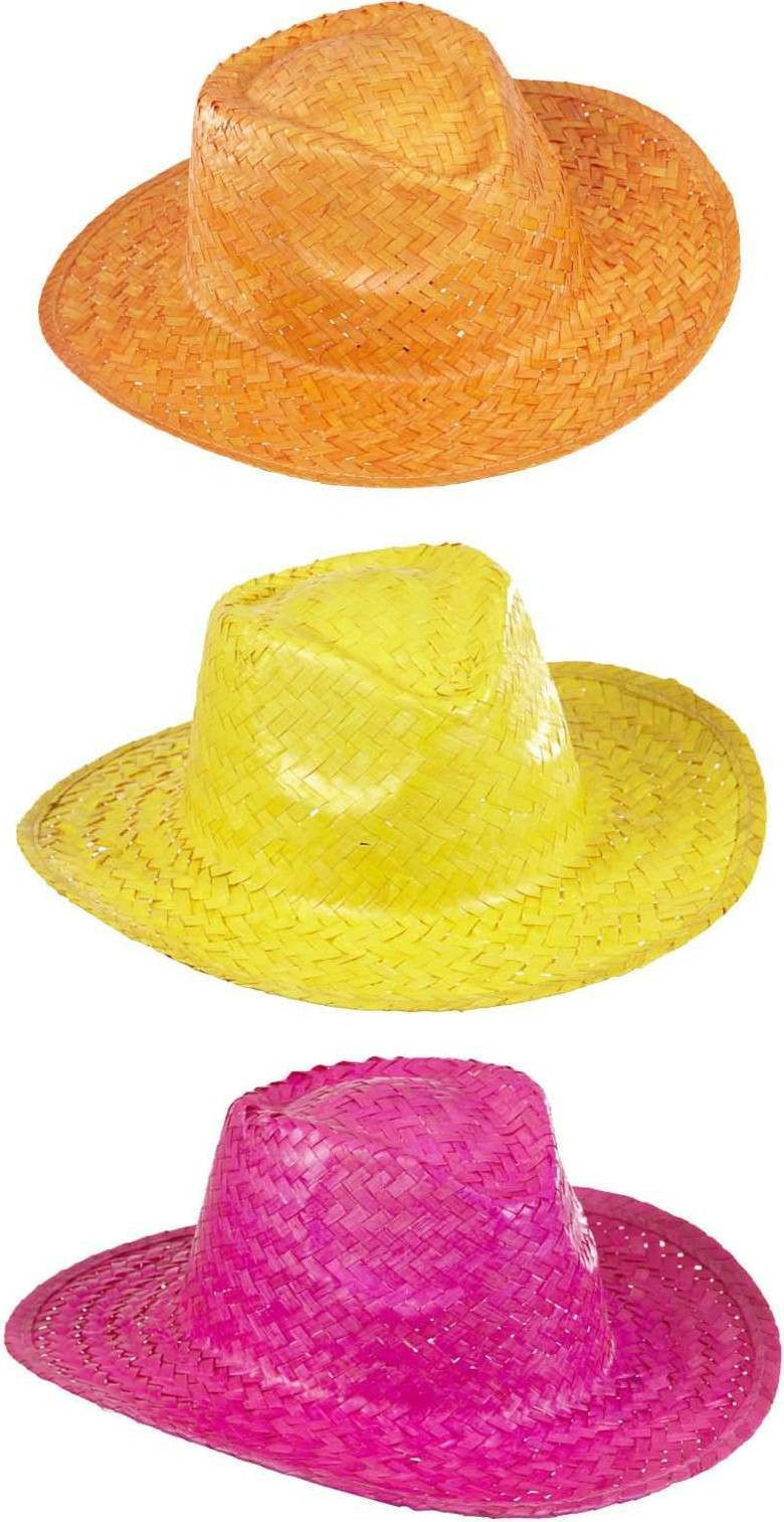 Boys Cowboy Hat Straw - Pink/Yellow/Orange Hats - (Pink, Yellow, Orange)