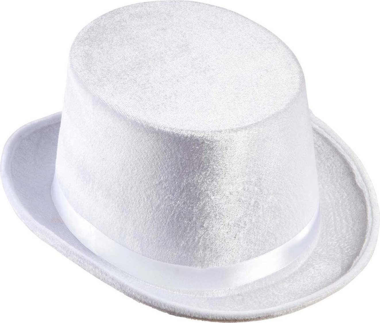 Mens Top Hat Velvet - White Hats - (White)