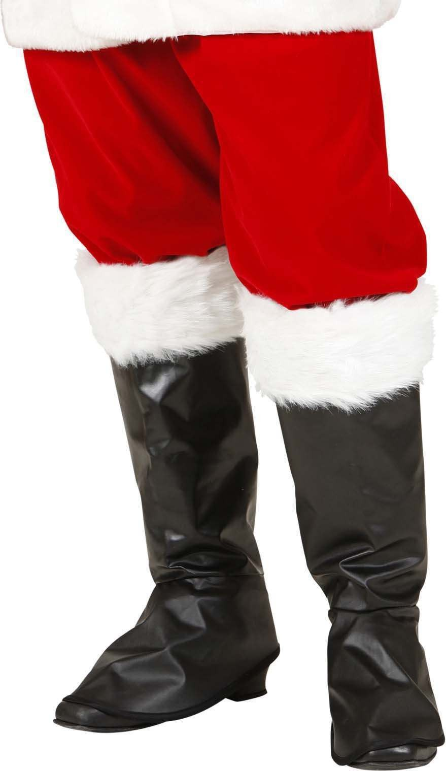 Mens Santa Claus Boot Covers Christmas Accessories - (Black)