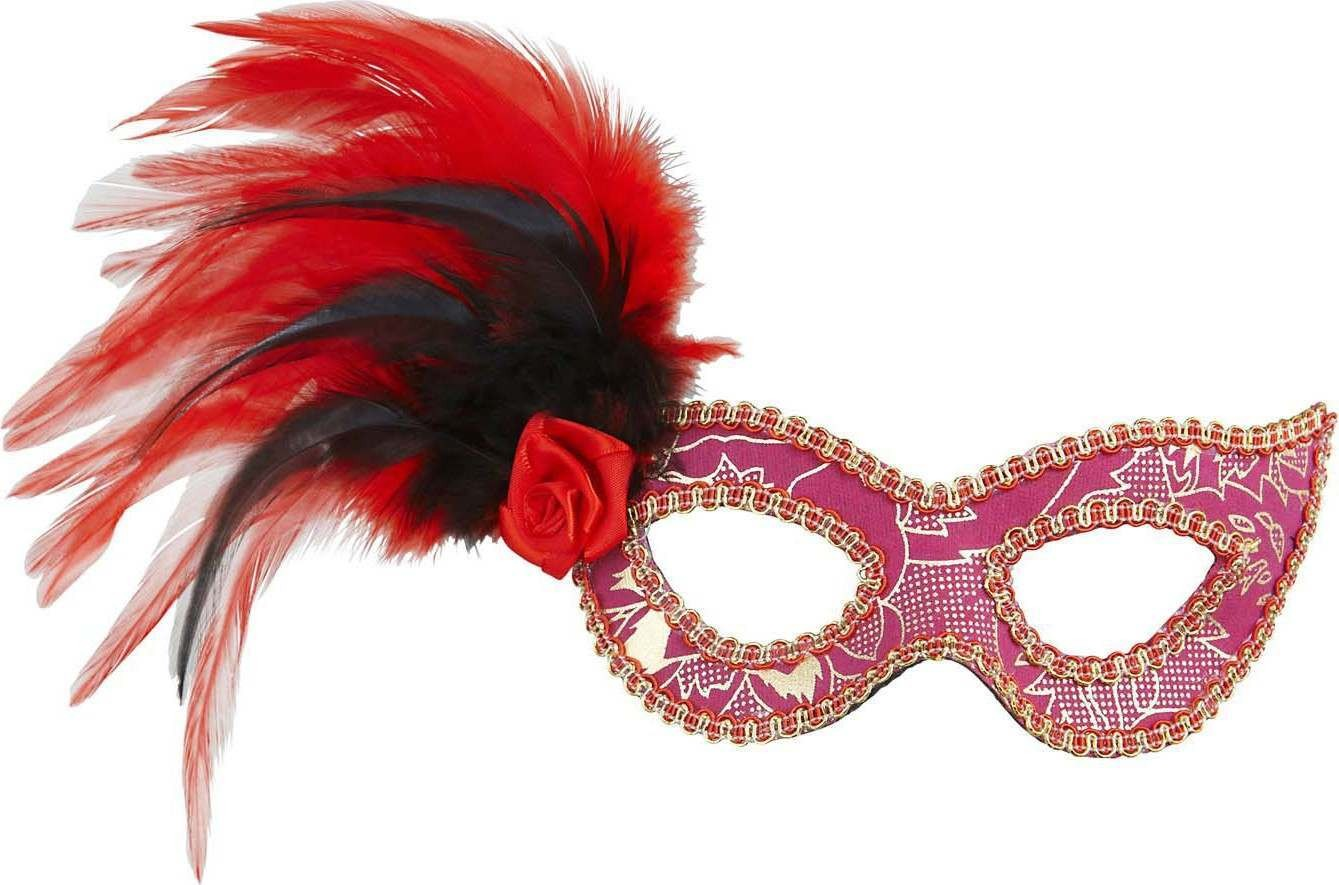 Ladies Pink Eyemask W/Rose Feathers & Gold Accents Eyemasks - (Pink)
