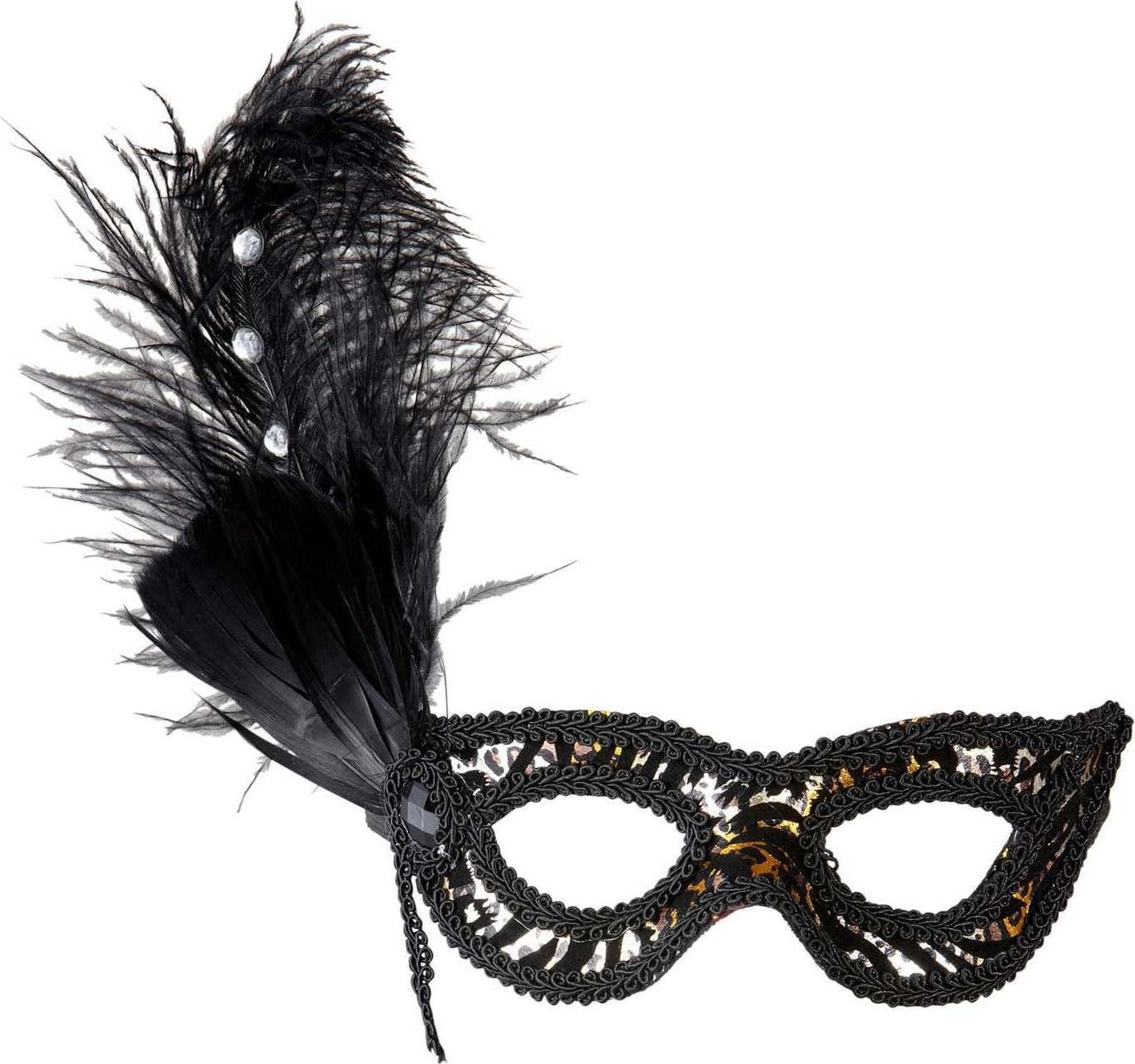 Ladies Leopard Eyemask With Strass Feathers Eyemasks - (Animal Print)