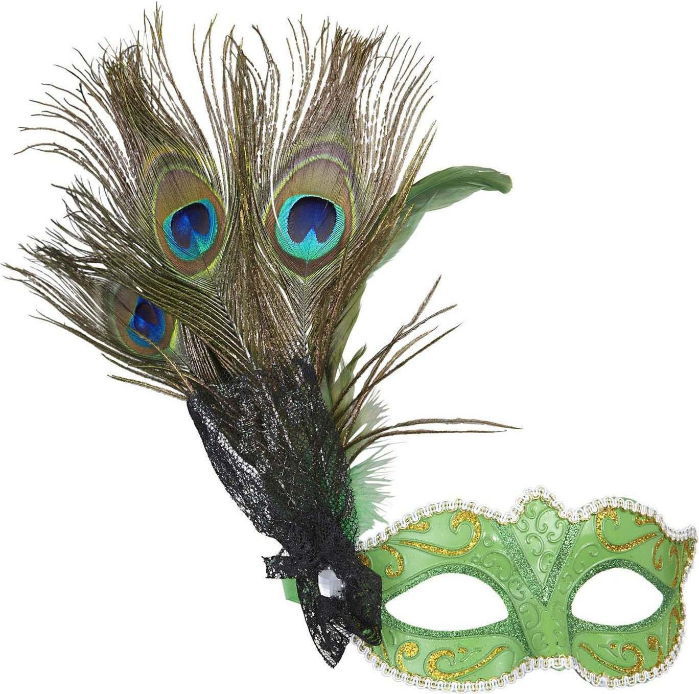 Ladies Green Eyemask W/Peacock Feathers Eyemasks - (Green)