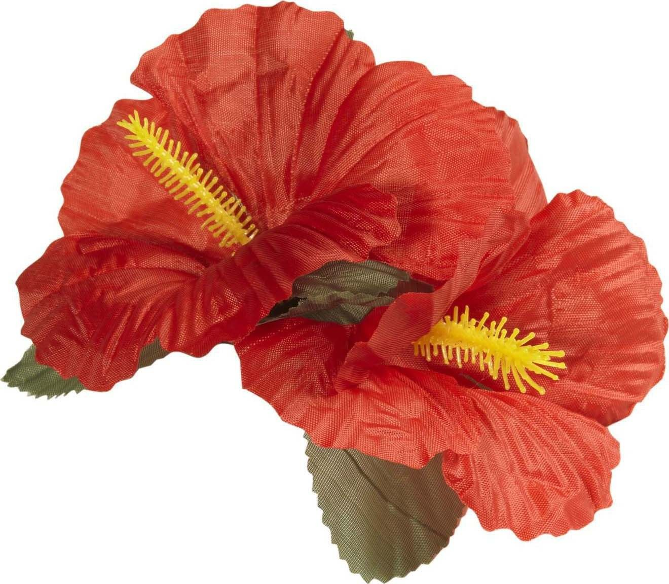 Ladies 2 Red Hibiscus Flowers Hair Clips Accessories - (Red)