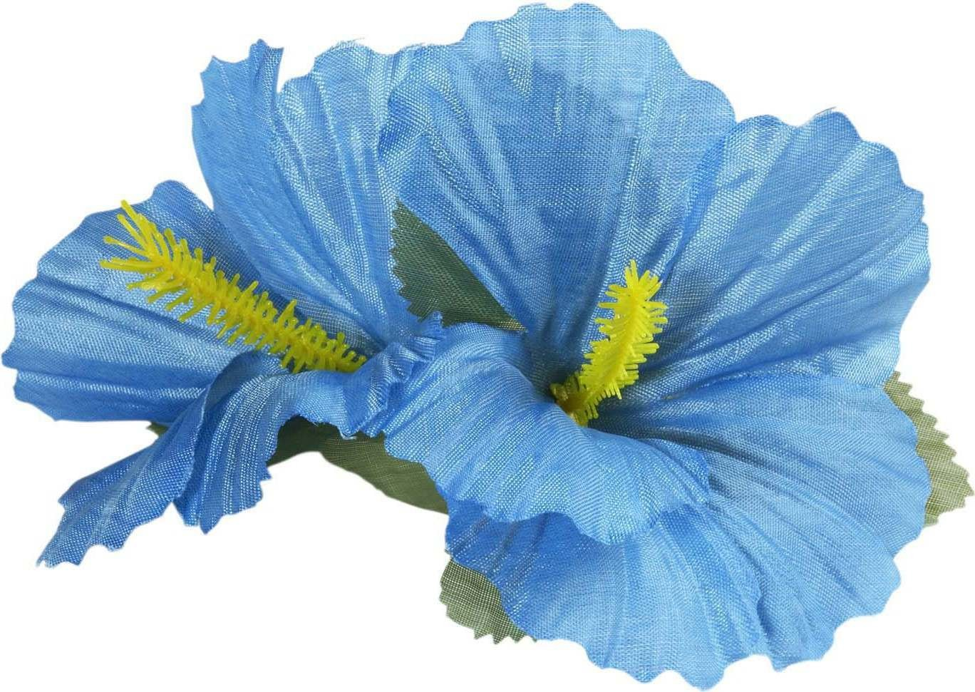 Ladies 2 Light Blue Hibiscus Flowers Hair Clips Accessories - (Blue)