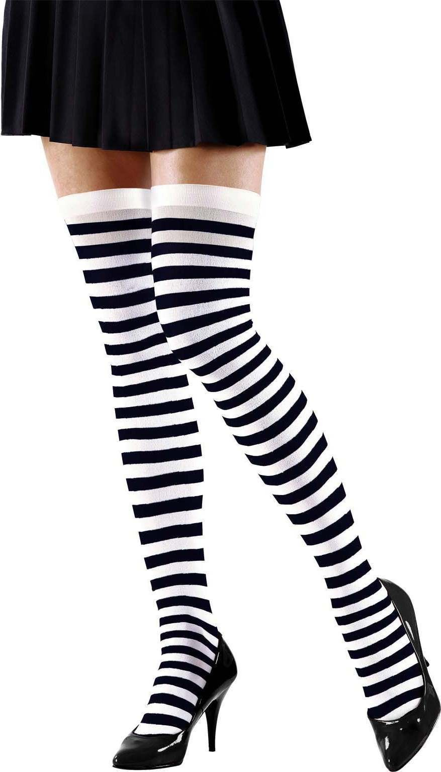 Ladies Xl White-Black Striped Over The Knee Socks - 70 Den Tights - Size 18-20