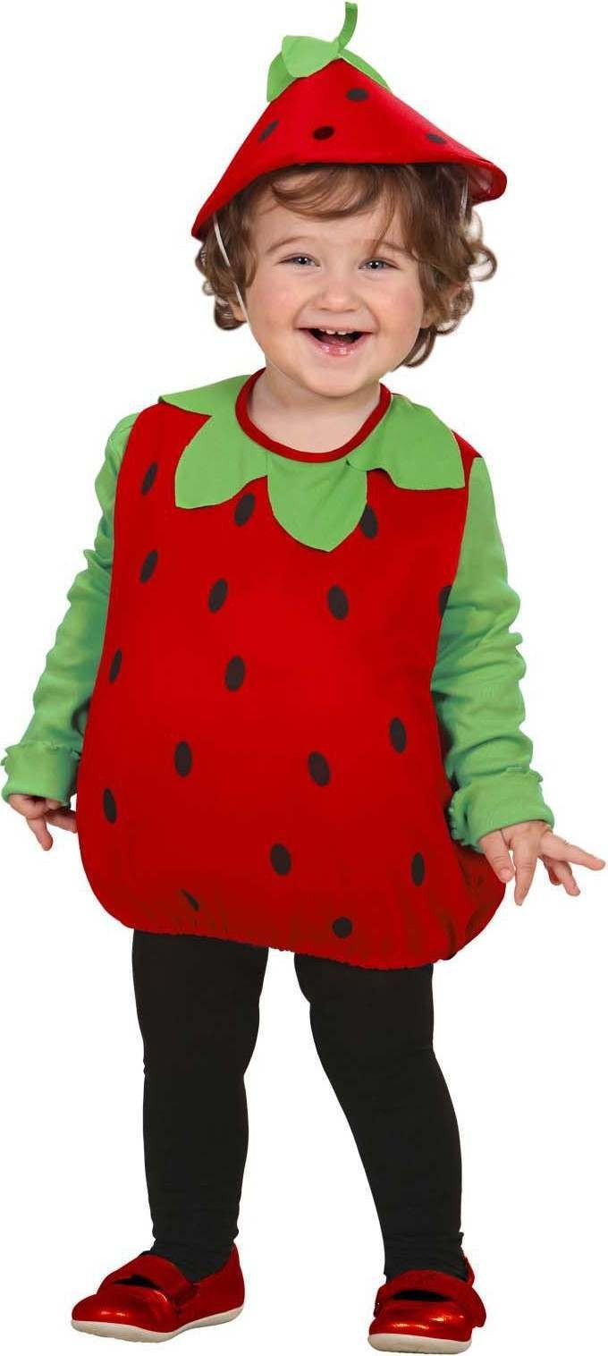 Strawberry (104Cm) (Jumpsuit Headpiece) Food Outfit - Age 2-3 (Red)