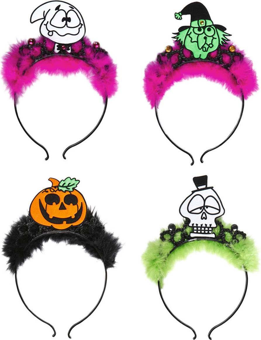 Ladies Halloween Tiaras 4 Styles Ass Hats - (Multicolour)