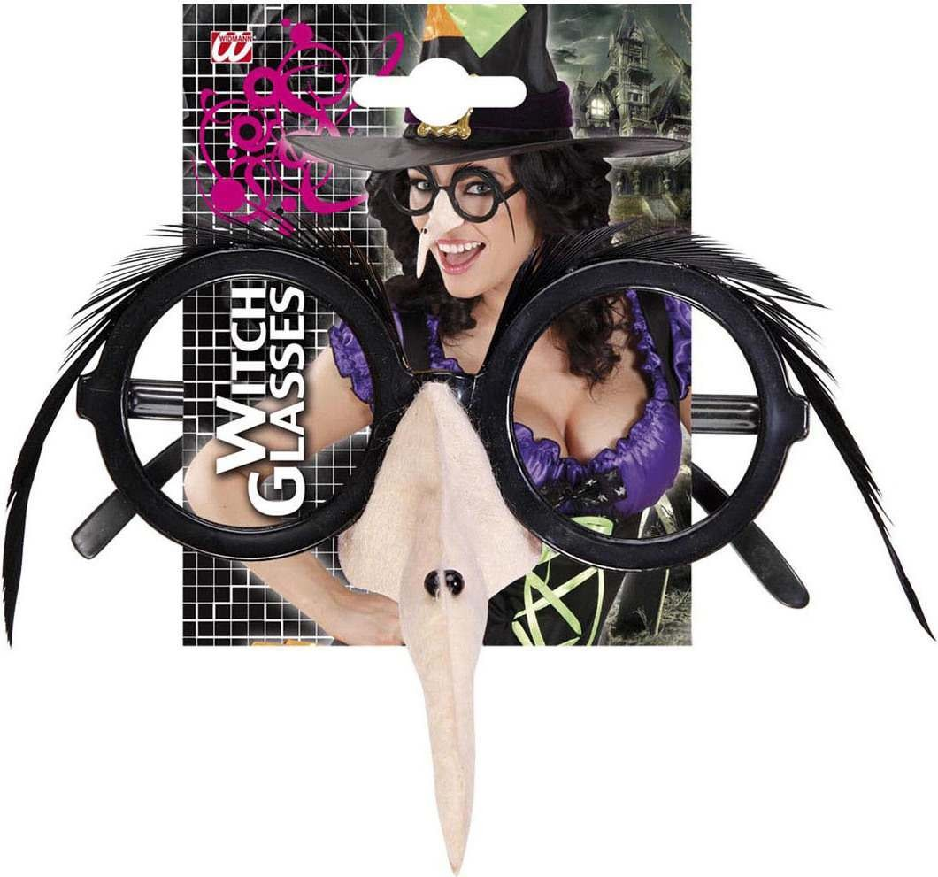 Adult Unisex Glasses W/Witch Nose Feather Brow- Black Disguises - (Black)