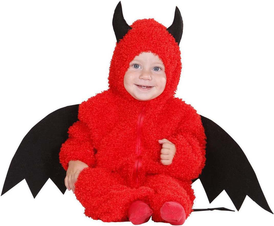 Toddler Fuzzy Devil Baby Halloween Outfit - (Red)