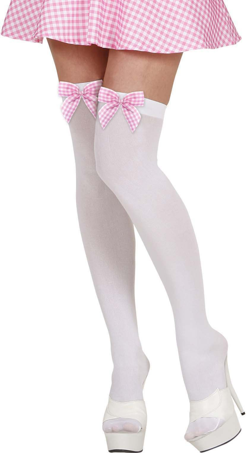 Ladies White Thigh Highs W/Pink Checked Bows Tights - (White)
