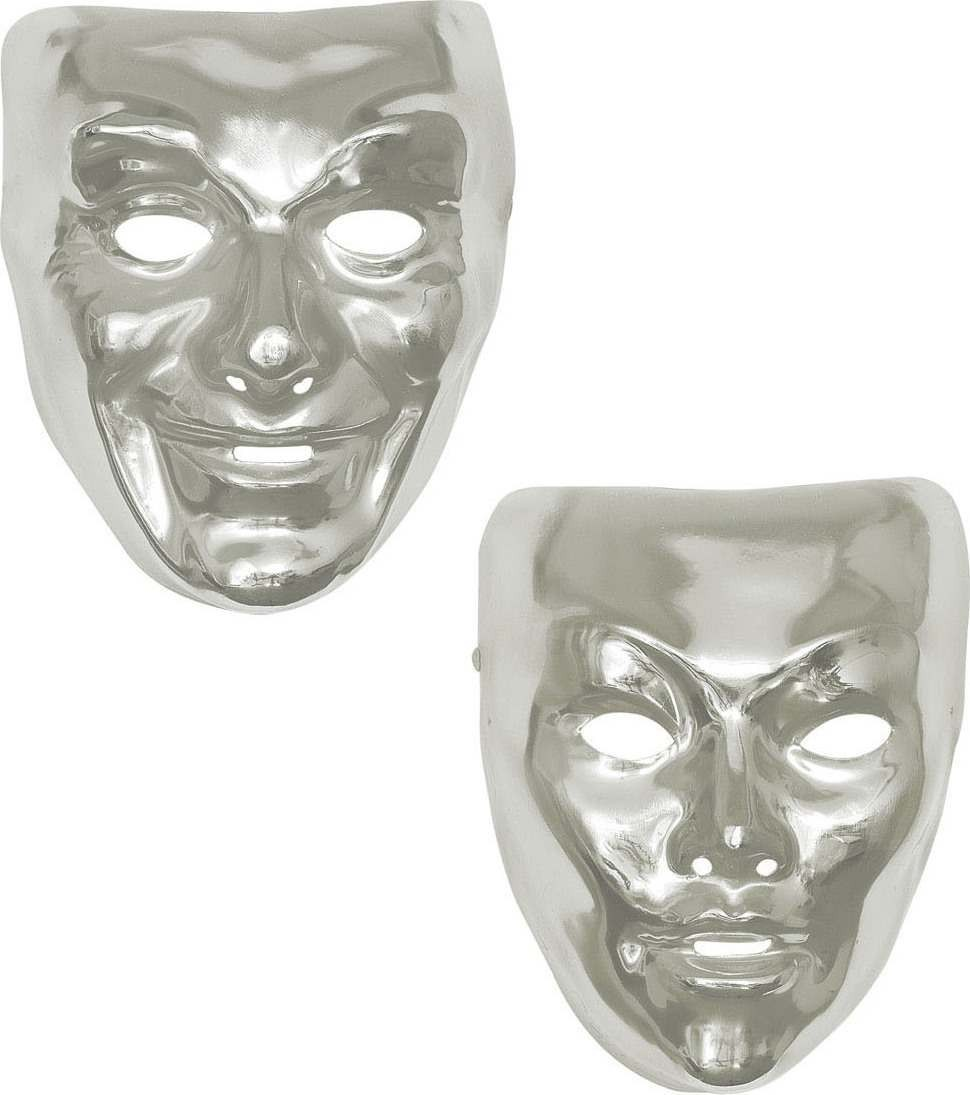Mens Silver Mask Plastic 2 Styles Masks - (Silver)