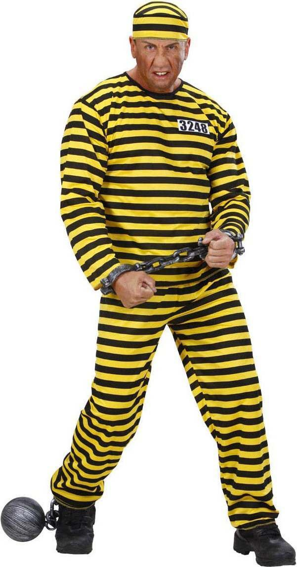 Mens Convict - Yellow & Black Cops/Robbers Outfit - Chest 46-48 (Black, Yellow)
