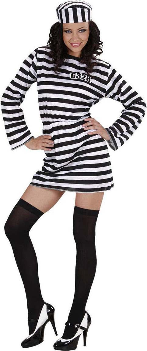 Ladies Prisoner Lady Costume Cops/Robbers Outfit - Size 8-10 (Black, White)