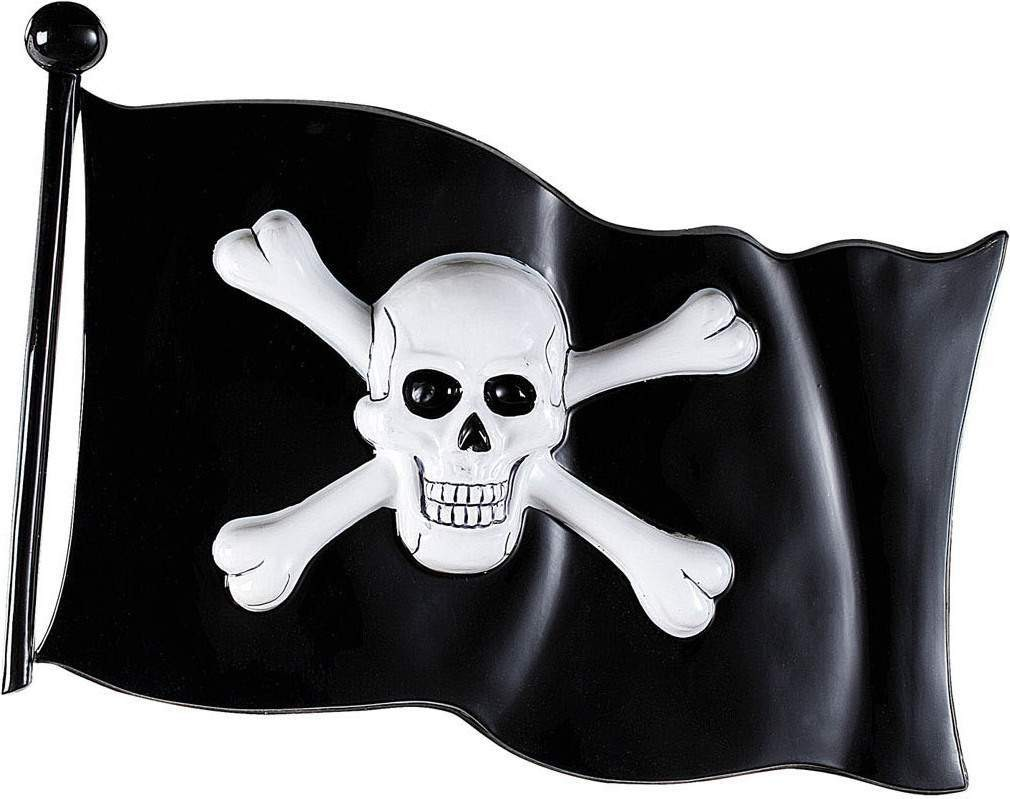 Pirate Flag Plastic 45X32Cm Accessories - (Black, White)