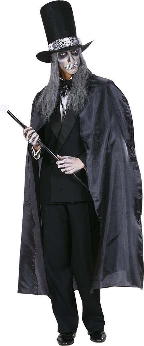 Mens Black Cape 130Cm Halloween Outfit - One Size (Black)