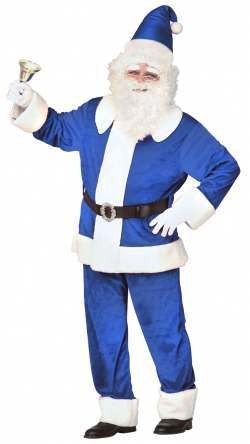 Adult Deluxe Blue Velvet Santa Fancy Dress Costume