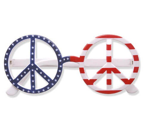 Usa Flag Love & Peace Glasses - Fancy Dress