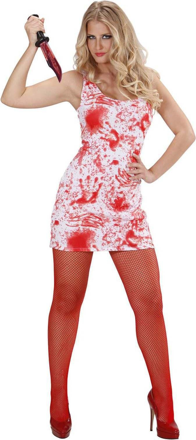 Ladies Bloody Mary- (Dress) Halloween Outfit - (Red,White)