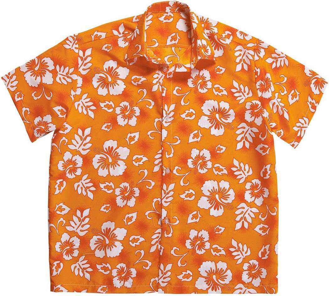Mens Hawaiian Shirt - Orange Hawaiian Outfit - Chest 46-48 (Orange)