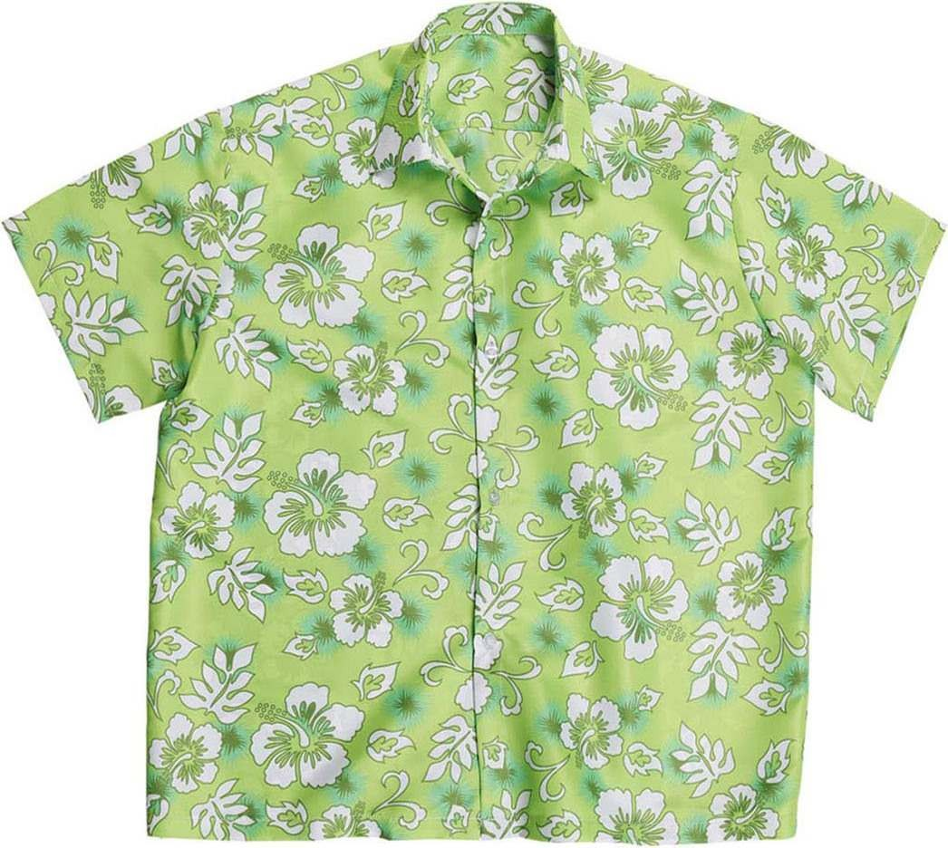 Mens Hawaiian Shirt - Green Hawaiian Outfit - Chest 46-48 (Green)