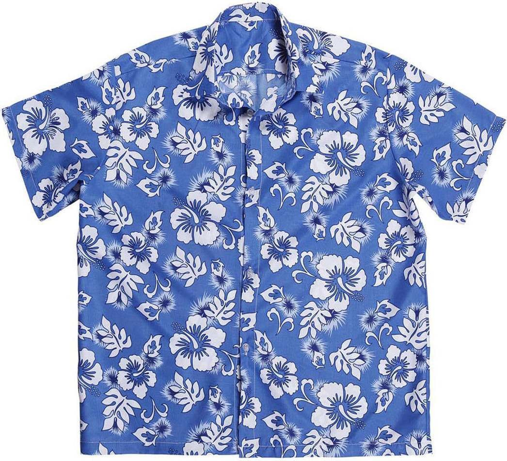 Mens Hawaiian Shirt - Blue Hawaiian Outfit - Chest 46-48 (Blue)