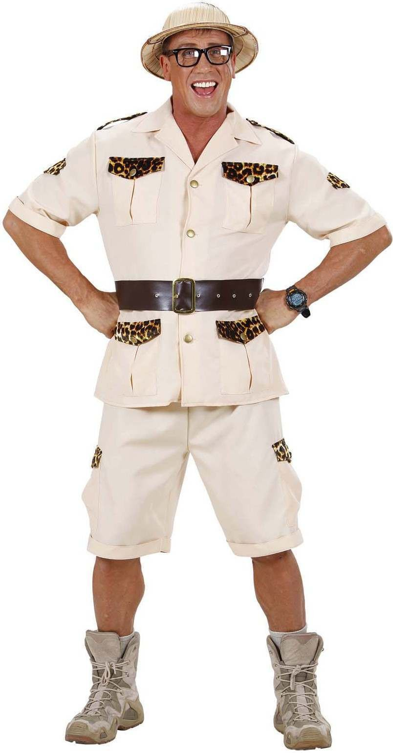 Mens Safari Man- (Shirt Shorts Belt) Safari Outfit (Beige)