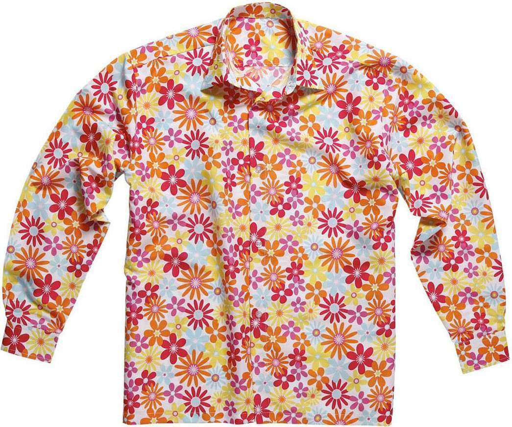 Mens Hippie Flower Shirts Hippy Outfit - (Pink)