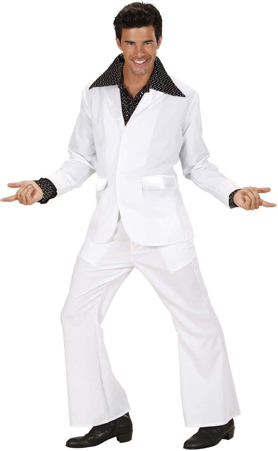 Mens White Party Suits (Jacket Pants) Disco Outfit - Chest 46-48 (White)