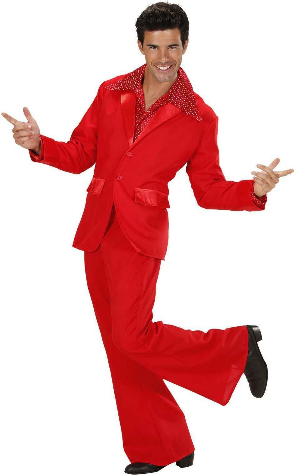 Mens Red Party Suits (Jacket Pants) Disco Outfit - Chest 46-48 (Red)