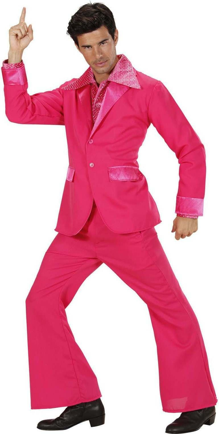 Mens Pink Party Suits (Jacket Pants) Disco Outfit - Chest 46-48 (Pink)