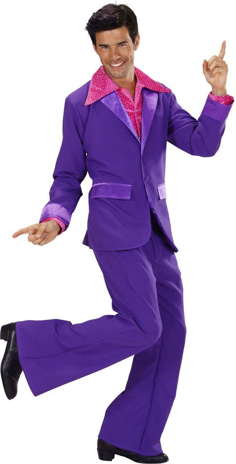 Mens Purple Party Suits (Jacket Pants) Disco Outfit - Chest 46-48 (Purple)