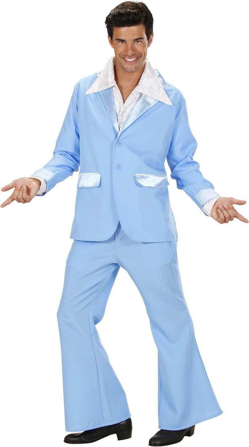Mens Turquoise Party Suits (Jacket Pants) Disco - Chest 46-48 (Turquoise, Blue)