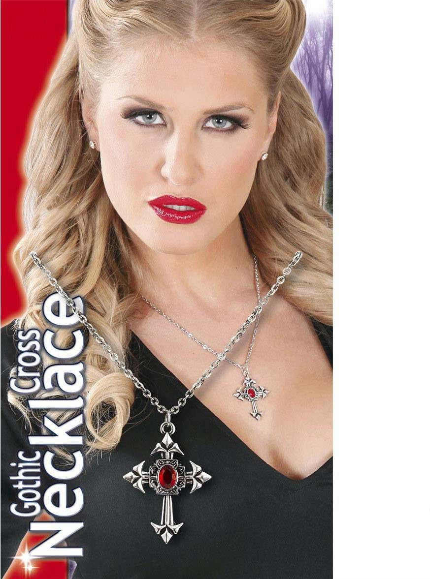 Ladies Gothic Cross Necklace W/Red Gem Jewellery - (Silver)