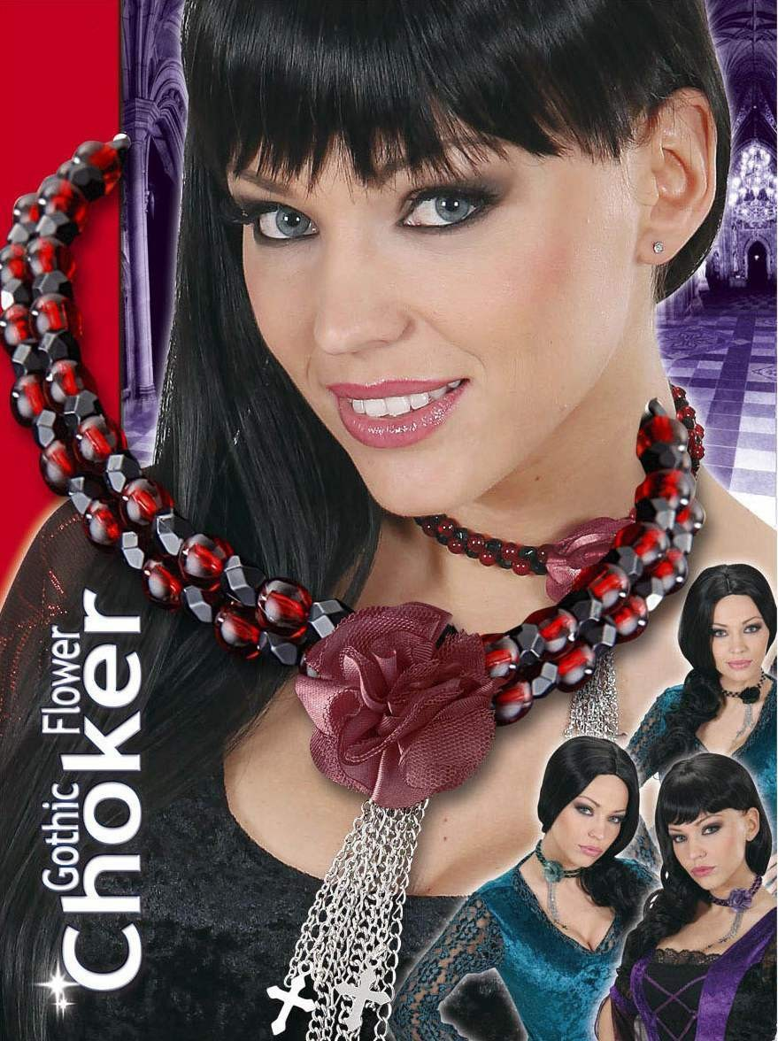 Ladies Gothic Flower Chokers - 4 Cols Jewellery - (Silver)