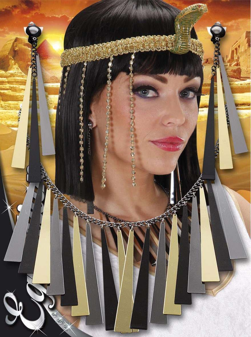 Ladies Egyptian Necklace & Earring Set Jewellery - (Gold, Black)