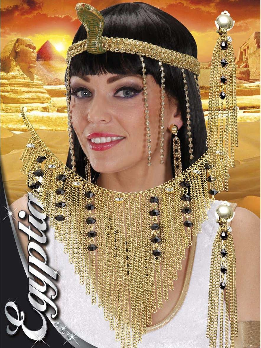 Ladies Nefertiti Necklace & Earring Set Jewellery - (Gold)