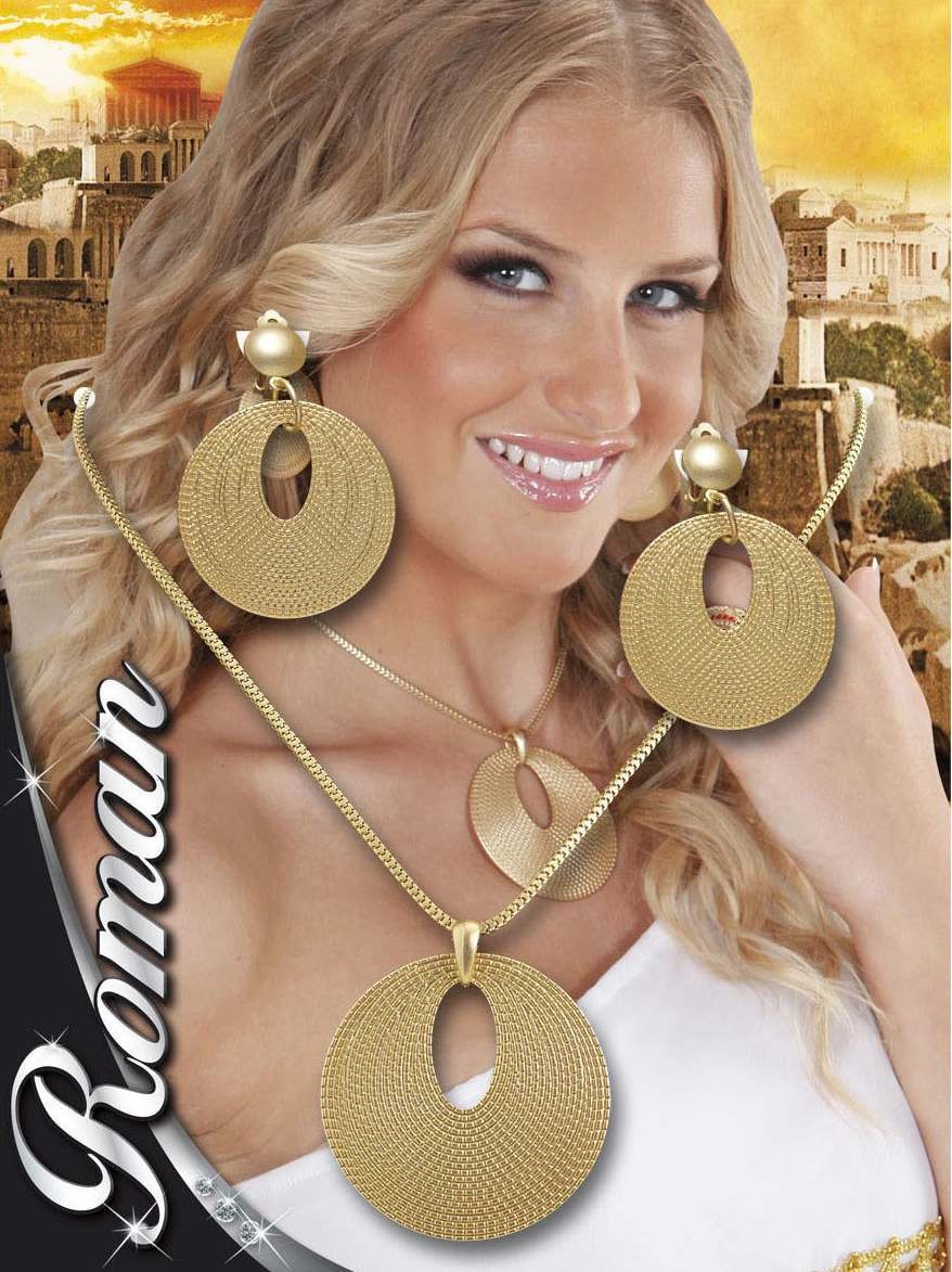 Ladies Roman Necklace & Earring Set Jewellery - (Gold)