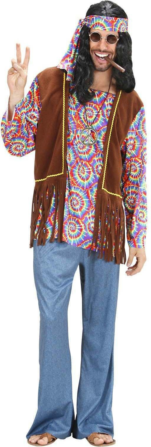 Mens Psychedelic Hippie Man- (Top/ Vest Pants Band N.Lace) Hippy