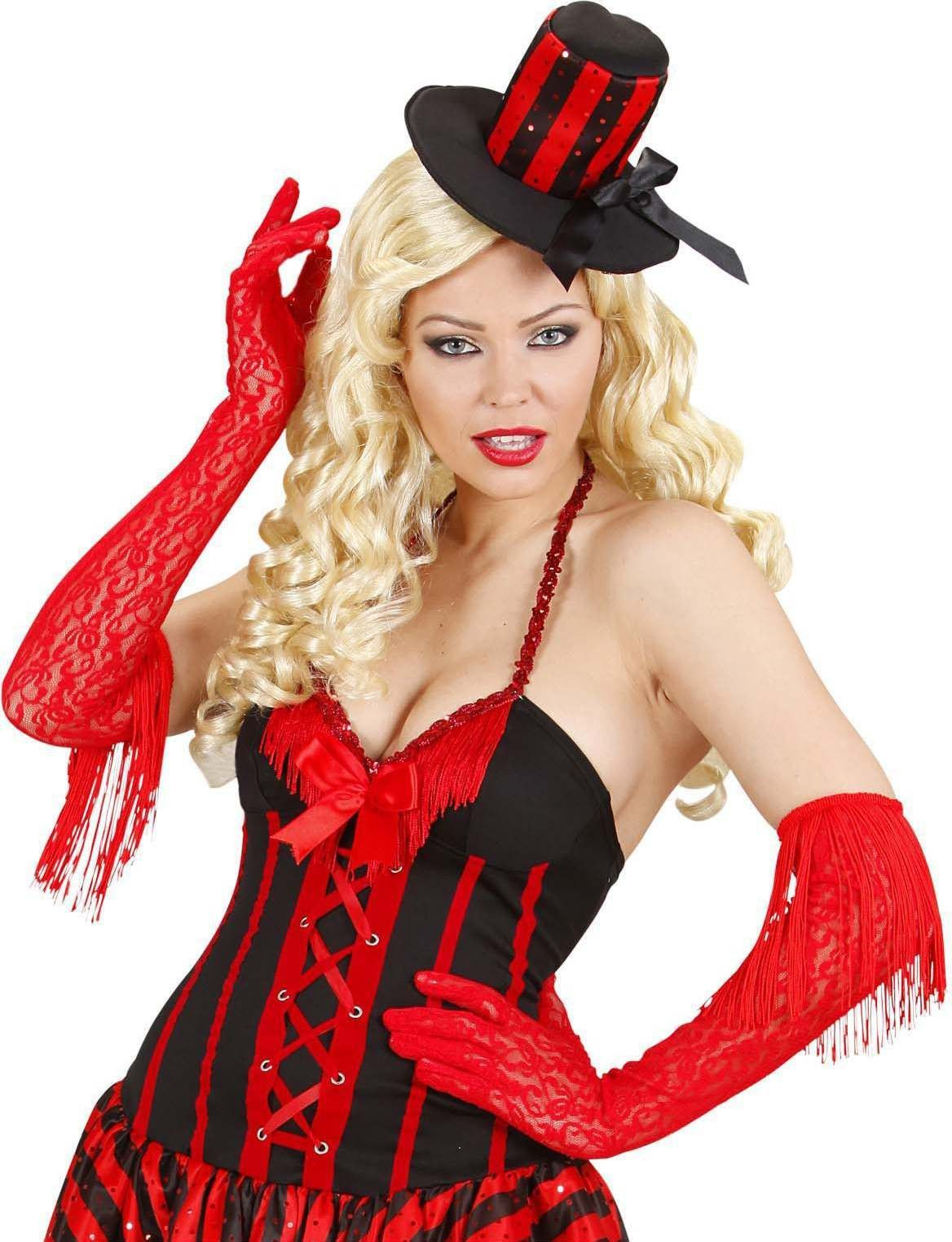 Ladies Red Lace Gloves With Fringes Gloves - (Red)