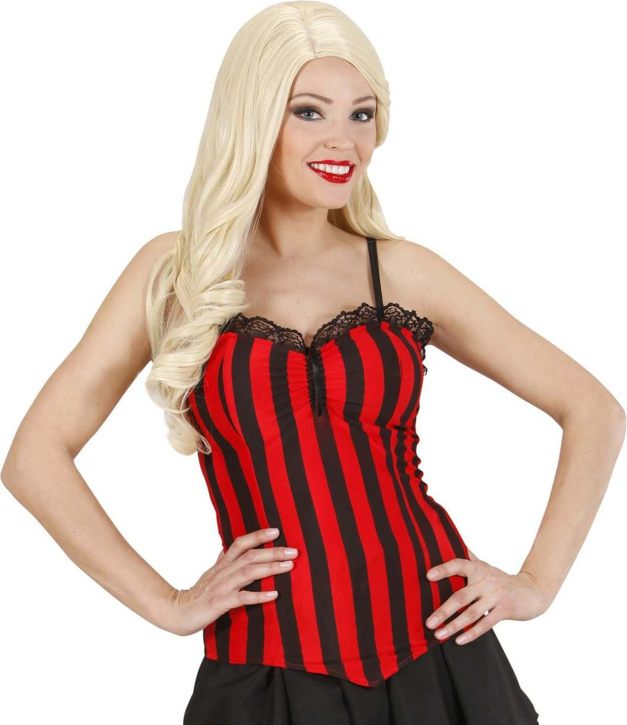 Ladies Striped Corsets Outfit - (Red, Black)