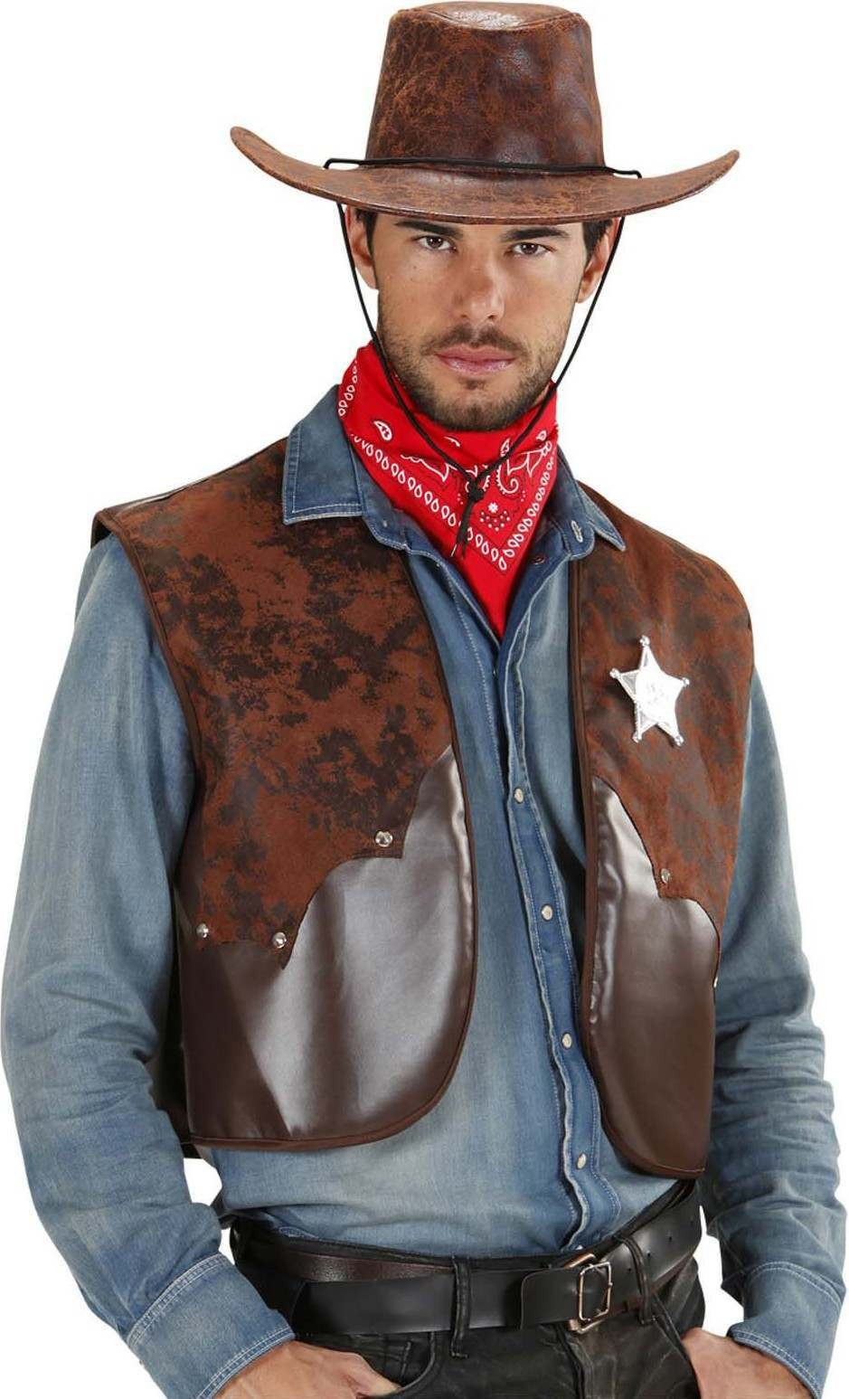 Mens Cowboy Vests Cowboys/Indians Outfit - (Brown)