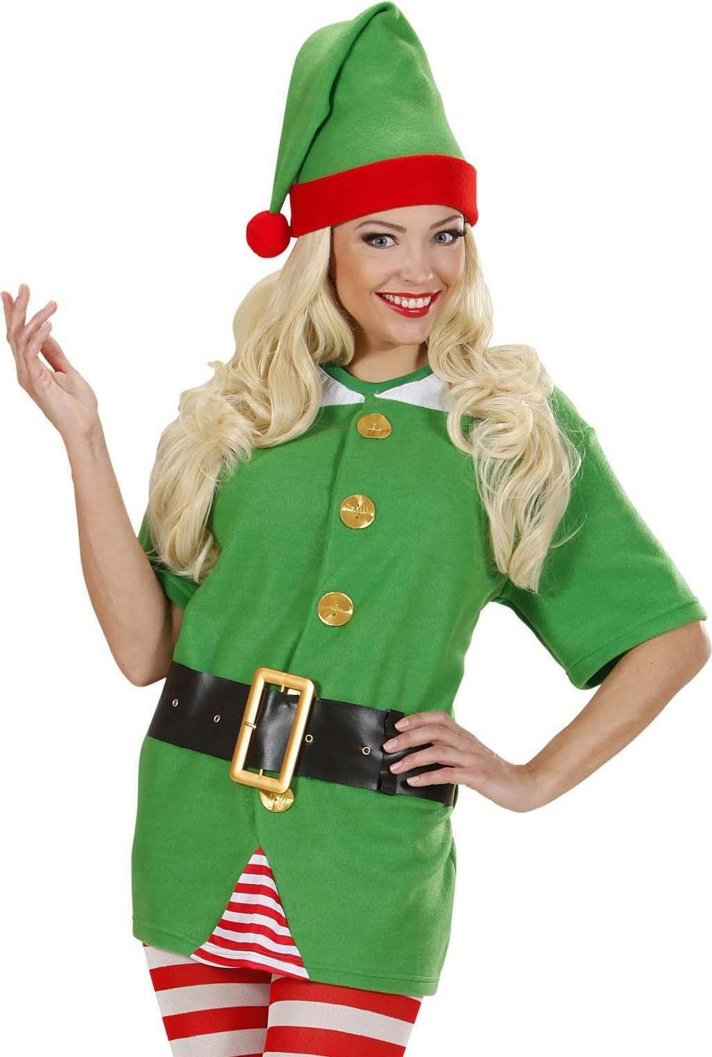 Ladies Santas Little Helper Elf- (Shirt Belt Hat) Christmas