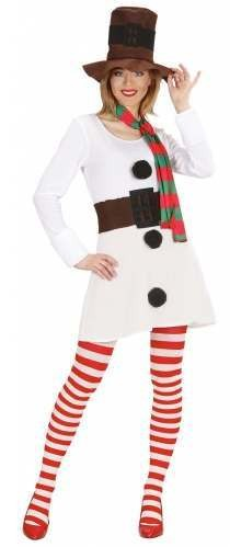 Ladies White Miss Snowman Dress  Fancy Dress Costume