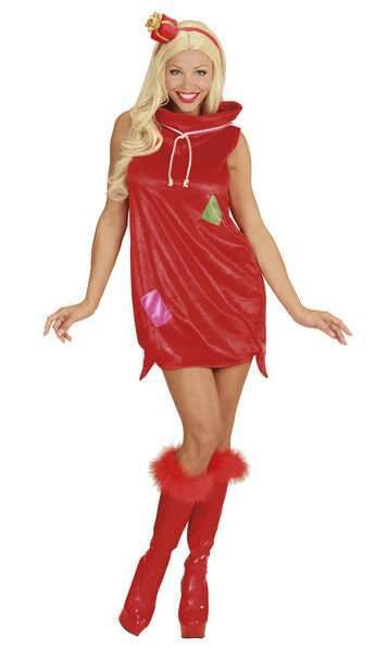 Ladies Sexy Red Christmas Sack Girl Fancy Dress Costume
