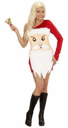 Ladies Santas Girl , Santa Face Dress Festive Fancy Dress Costume