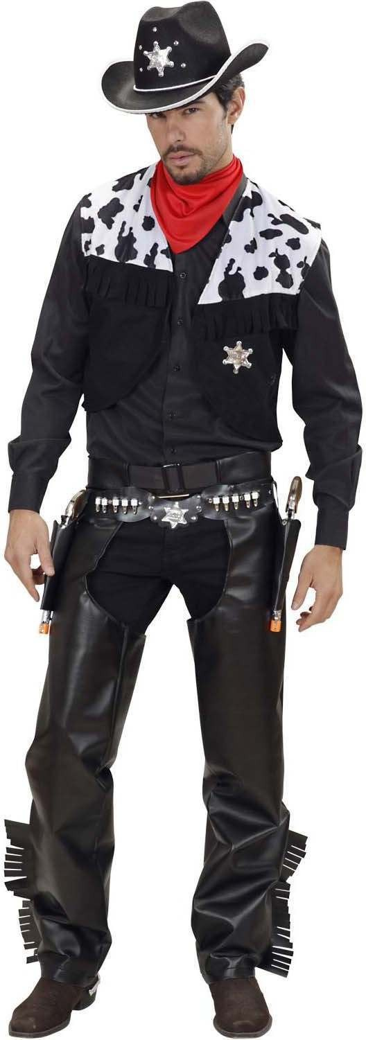 Mens Cowboy- (Vest Chaps Belt Bandana) Cowboys/Indians (Black)