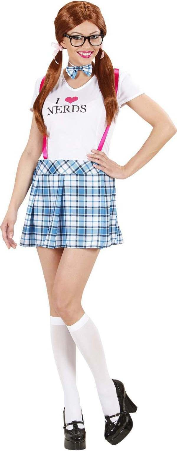 Ladies College Girl- (Dress Bow Tie) School Outfit - (White, Blue)