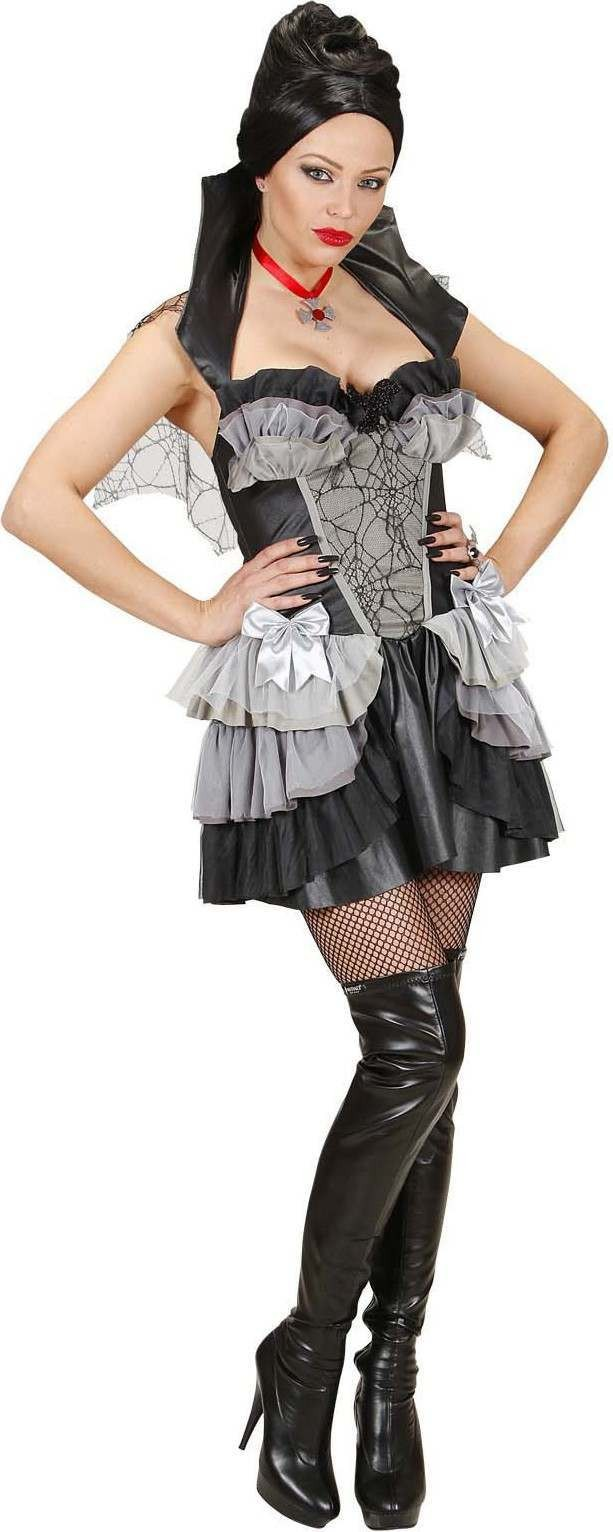 Ladies Gothic Vampiress- (Dress Stand Up Collar/Cape N.Lace) -