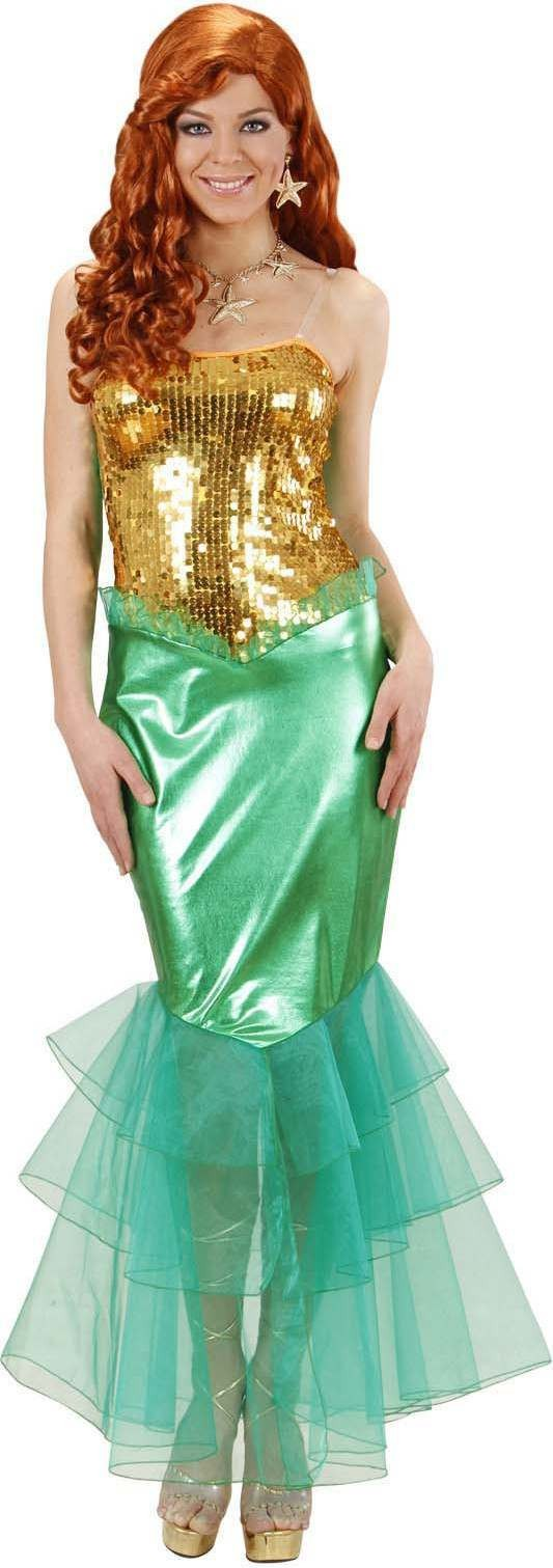 Ladies Mermaid- (Dress) Fairy Tales Outfit - (Gold, Green)