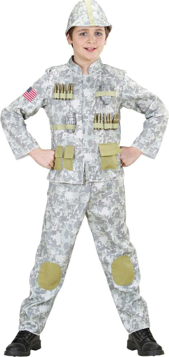 Boys Army Soldier (Coat Pants Helmet) Army Outfit - (Green)